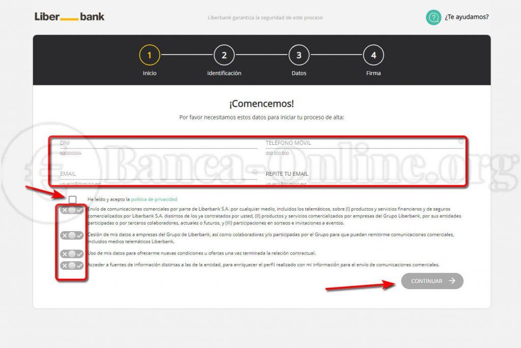 abrir cuenta bancaria online sin comisiones liberbank