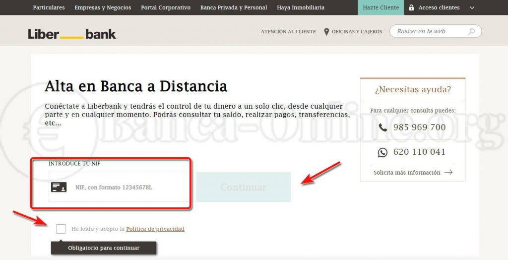 alta online banca a distancia liberbank
