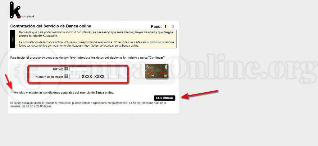 contratación servicio banca online kutxabank