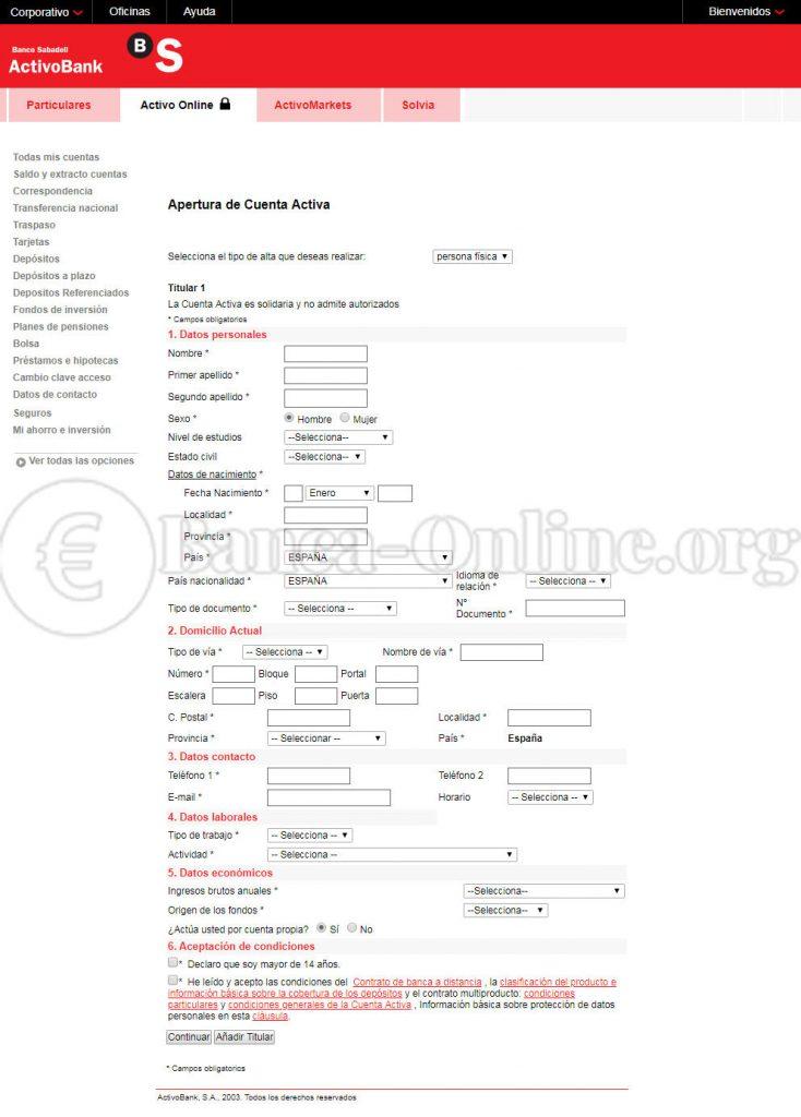 crear cuenta online activobank
