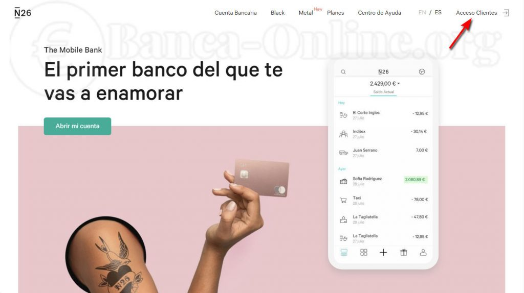 n26 banca movil acceso clientes