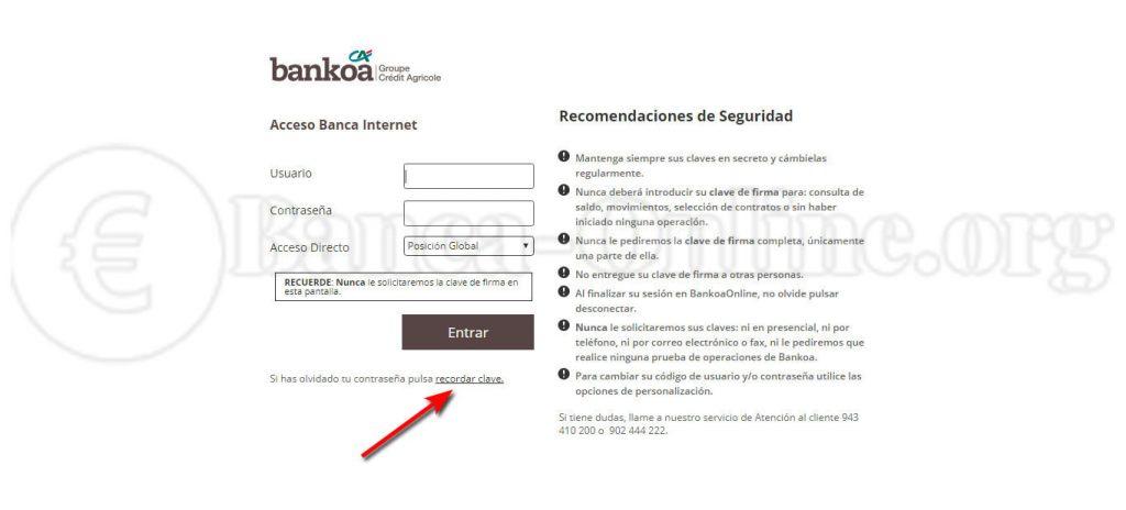 peticion claves bankoa