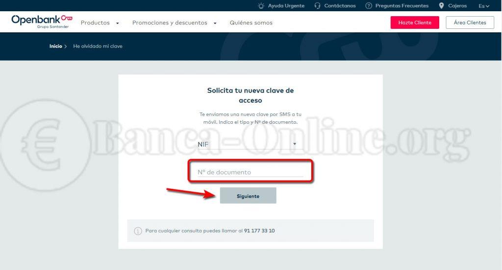 recuperar clave de acceso openbank