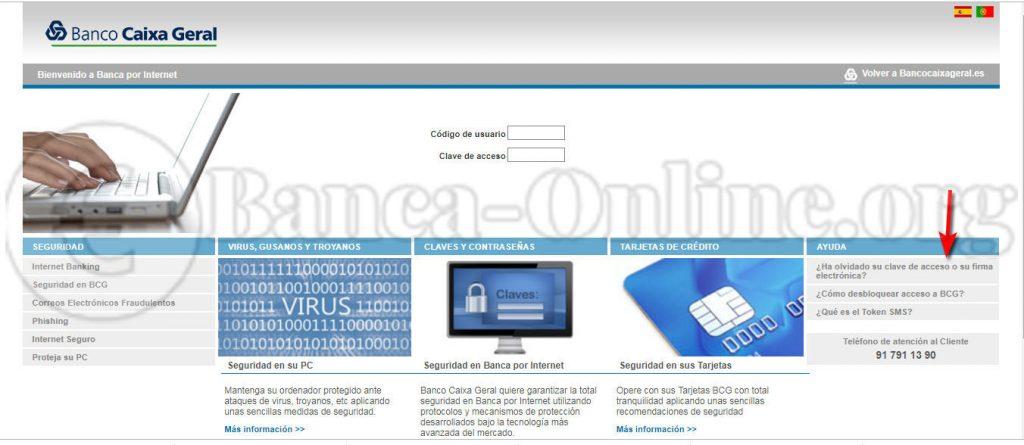 recuperar claves banca online banco caixa geral