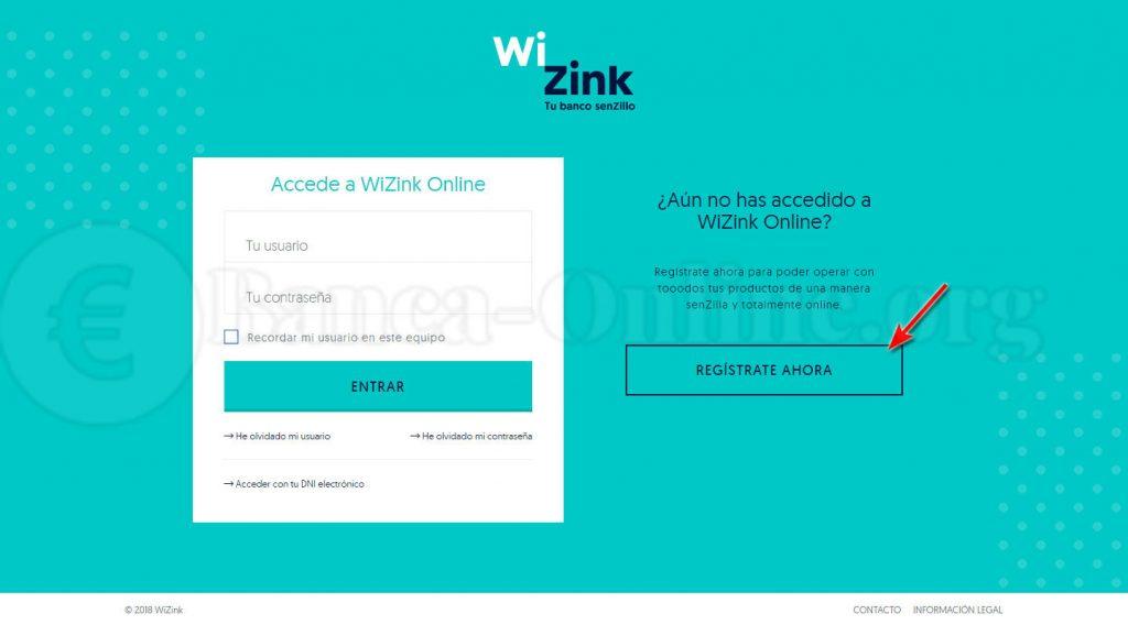 registro banca online wizink