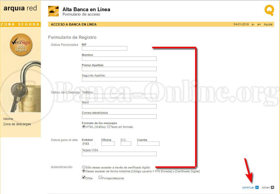 registro cuenta online arquia
