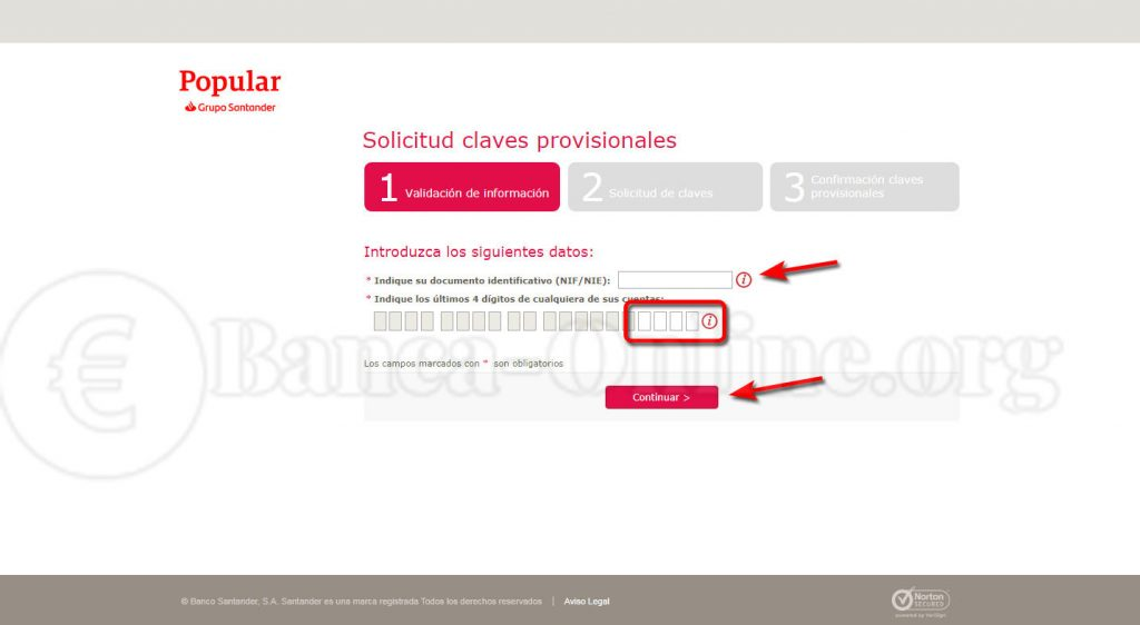 solicitud claves banco popular