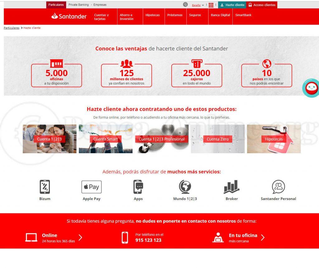 abrir cuenta bancaria online banco santander