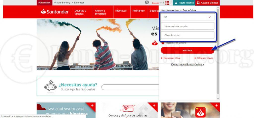 acceso banca online banco santander