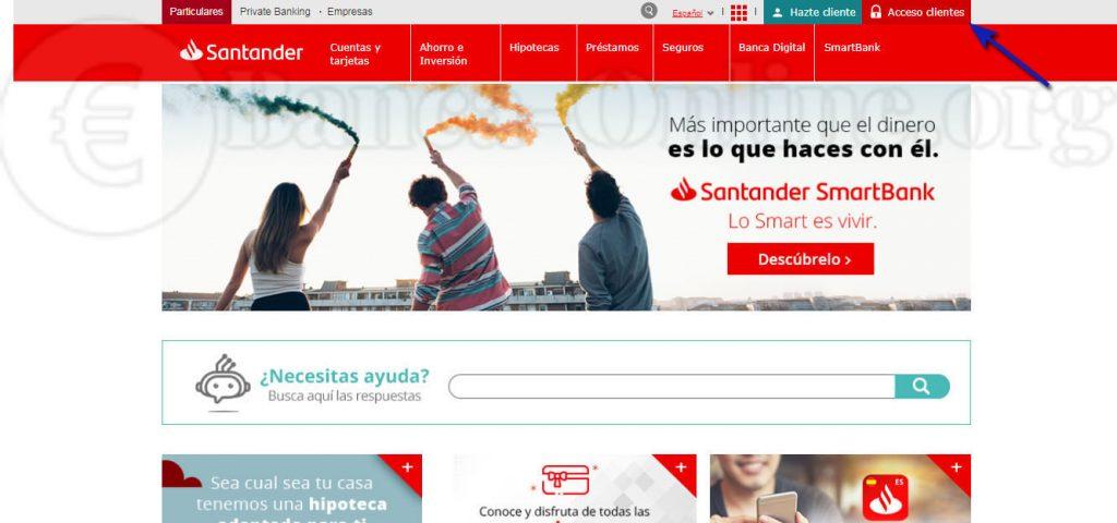 acceso clientes desde pagina inicio santander