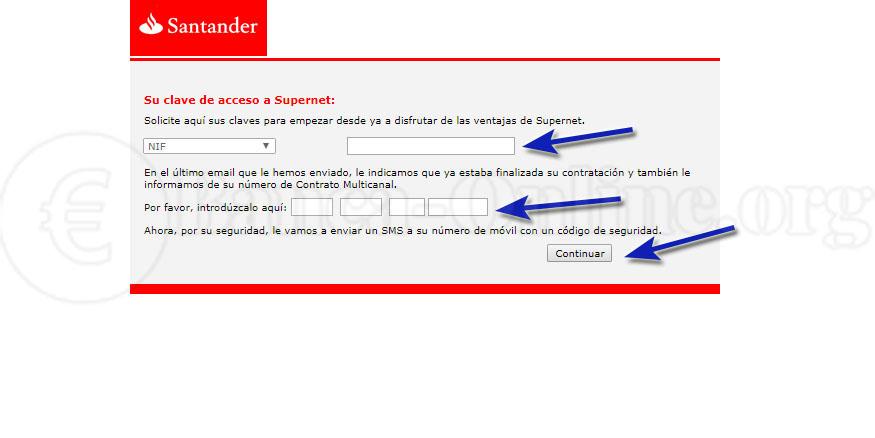 claves acceso a supernet banco santander