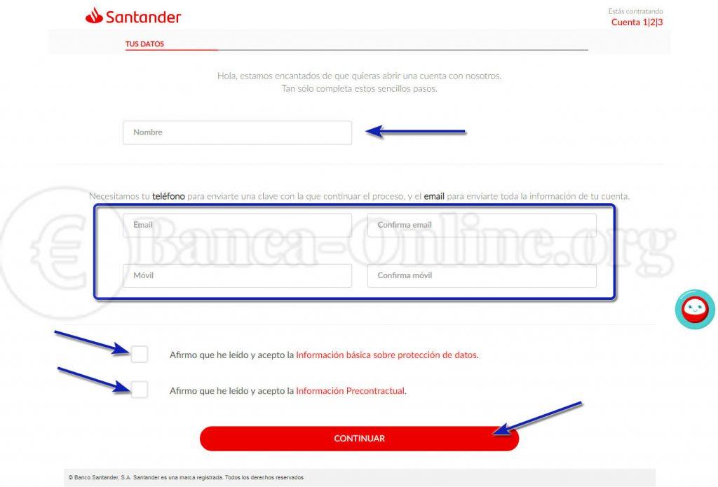 contratar cuenta online banco santander