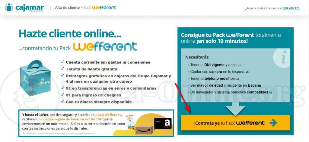 contratar cuenta online cajamar