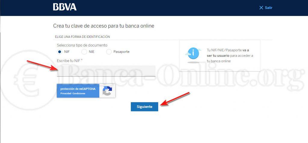crea tu clave de acceso para tu banca online bbva