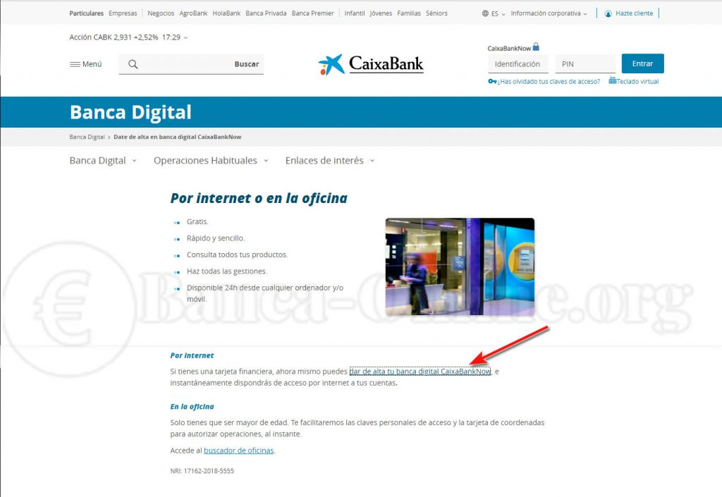 dar de alta banca digital online caixabank now
