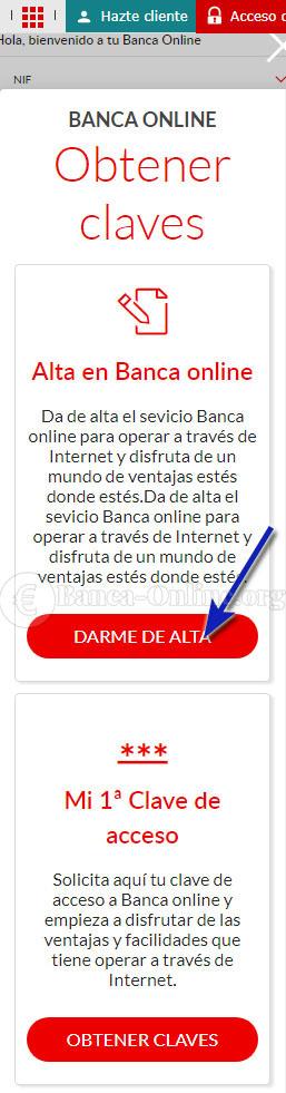 darse de alta banca online banco santander