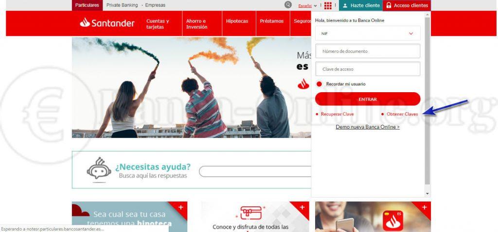 obtener claves banca online banco santander