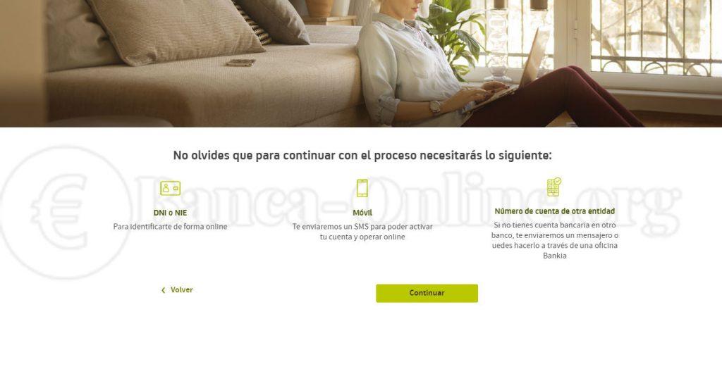 proceso apertura cuenta online dos titulares bankia