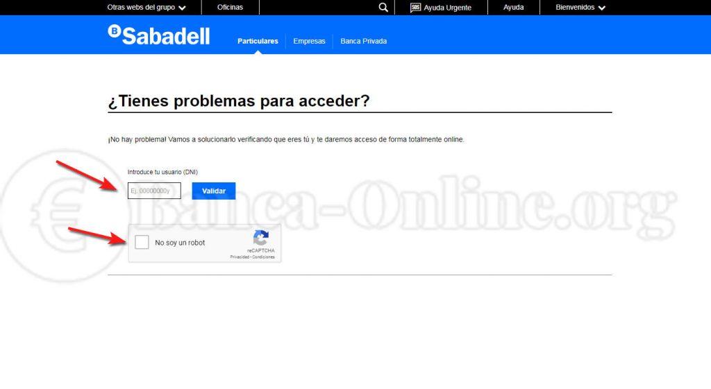 recuperar acceso banco sabadell online