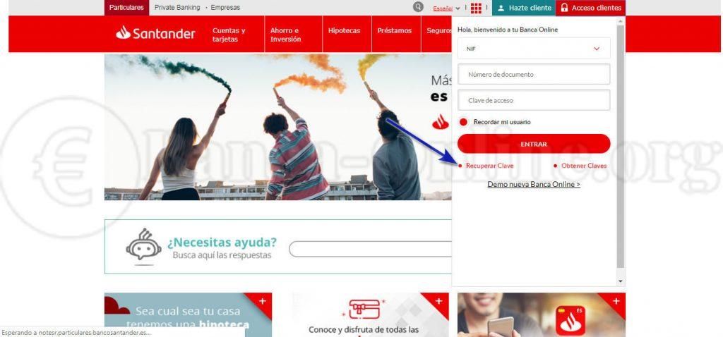 recuperar claves banca online banco santander