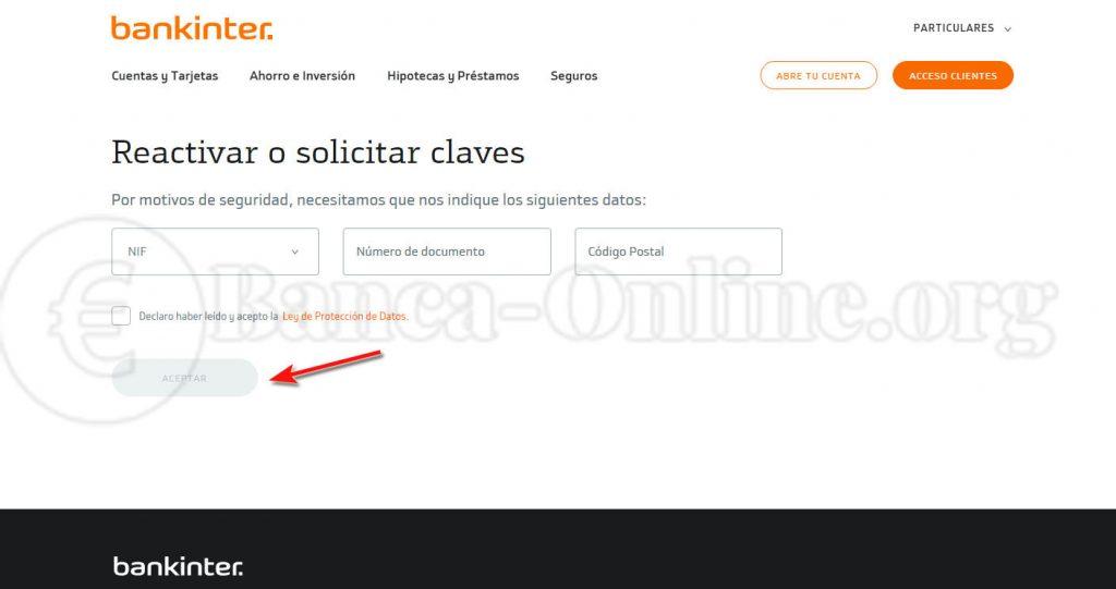solicitar claves banca online bankinter